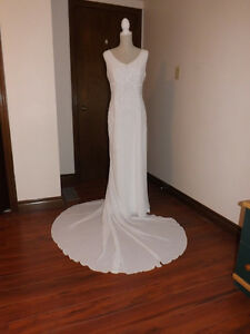 White Chiffon destination wedding gown with crystal embroidery