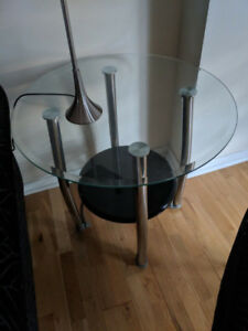 2 Glass End Tables Used For Staging Purposes