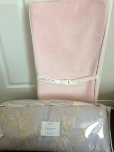 Crib bumper + skirt set / plush changing pad cover NEGOTIABLE!!