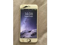iPhone 6 Gold 64gb Unlocked Working Cracked Screen