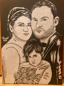 Glitter, pencil and oil portraits
