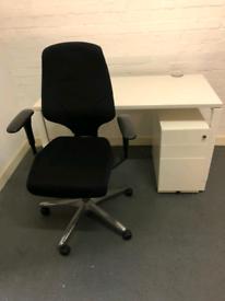 GIROFLEX G64 OFFICE CHAIR & HAWORTH HIGHT ADJUSTABLE DESK FROM £160