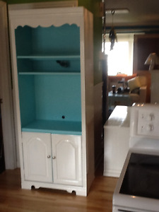 White and blue tall cabinet