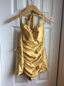 Vintage Style Gold One Piece Swimsuit Size Small $25