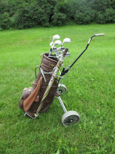 set of LH golf clubs and accessories