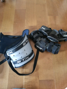 Lacrosse kidney belt and elbow pads