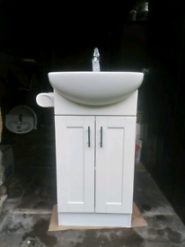 Bathroom Vanity Unit with Basin, Tap and Loo Roll Holder