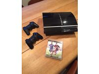 PlayStation 3 with 2 controllers and Fifa 15