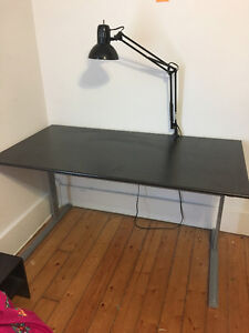 Black Wooden Desk with Lamp!