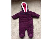 Purple and pink spotty snowsuit 0-3 months