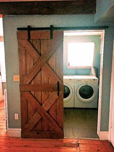 Sliding Barn Door Including Rail System Hardware