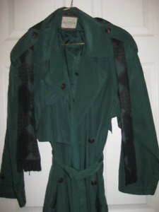 rain coat  green in colour with matching scarf.