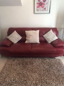 2 and 3 seater Red Leather Sofas (Harveys)