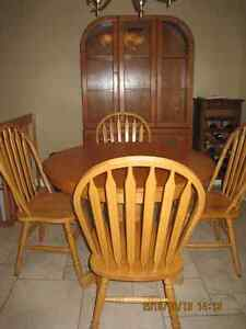 REDUCED - Dining Table and Hutch (Oak finish)