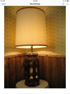 Spectacular, Large, 3 Light, Quebec Pottery Lamp-Grt Condition!