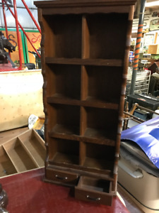 VINTAGE DISPLAY CABINET 8 CUBBY + 2 DRAWERS