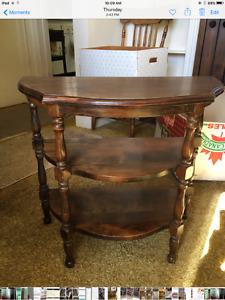 Antique  3 shelf half moon end table