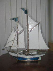 MODEL SCHOONER IN METAL AND STAINED GLASS