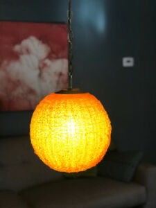 Mid Century Modern Antique Orange Swag Light Lamp