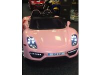 Porsche Style In Pink Kids Ride-On Cars 12v Parental Remote Control Self Drive