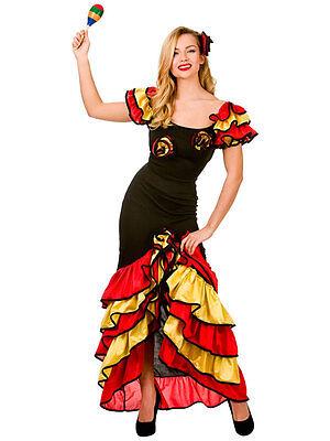 Spanish Senorita Rumba Salsa Flamenco Dancer Dance Ladies Fancy Dress - Spanish Dancer Costumes