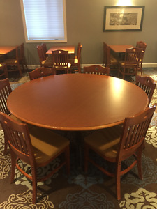 "60"" round wood tables (matching chairs available)"