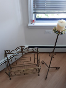 Unique magazine rack and matching candle holder