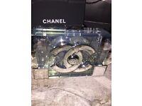 Chanel Lego clutch bag silver