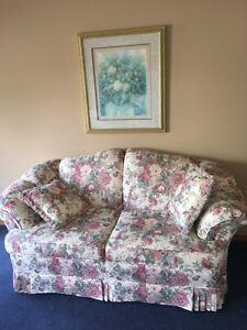Sofa,  Love seat and Chair, lamps and floral picture