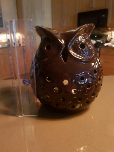 Chocolate brown ceramic owl candle holder