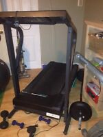 Fold up treadmill and exercise bike