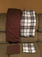 2 Sheet Sets, Brown set and flannel blue/brown/white set