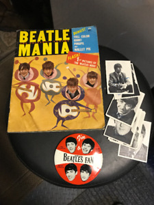 VINTAGE 1960S BEATLES MANIA FAN BADGE PIN CARDS PHOTO BOOK