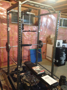 Power Rack, Bench, Weights, and Accessories
