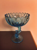 INDIANA GLASS AZURE CAPRI BLUE FOOTED LOTUS FLOWER COMPOTE DISH