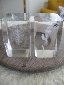 2 ATTRACTIVE VINTAGE HEAVY CRYSTAL DESK PAPER-WEIGHTS