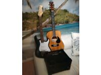 Jaxville electric guitar and Martin Smith acoustic with 10w practice amp.