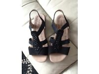 Hotters black sandals SZ 4 £40