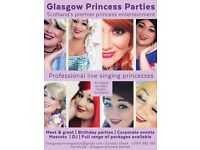 Glasgow princess parties princess hire DJ kids disco entertainment Elsa Anna Olaf frozen mascot