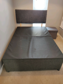 Small Double (4 foot / Queen size) Divan Bed Base & Headboard