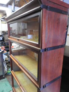 antique barrister bookcase 4 glass levels, newly restored
