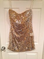 Size 14 gold strapless sequins dress. NWT.