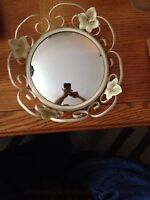 Vintage wought iron concave mirror