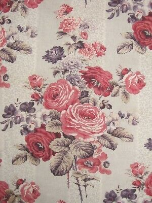 Long Valance for 4-poster bed Antique French Pink & Purple Floral w/ trim fabric