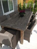 Big TEAK Wood Outdoor Table with 8 Chairs