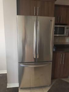 "Gorgeous 33"" LG Stainless Steel French door fridge"