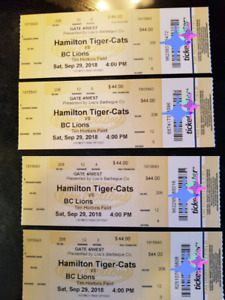 4 ti cats tickets for this afternoon game against b.c