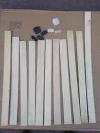 Bed Wooden Slats £2 each. Plastic connectors 50p. RBW Final Furniture