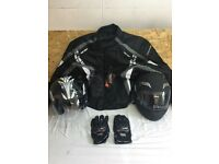 Motorcycle jacket ,gloves and 2 helmets brand new