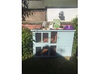 Large double story rabbit hutch and various items
